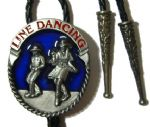 LINE DANCING bolo tie (blue background)